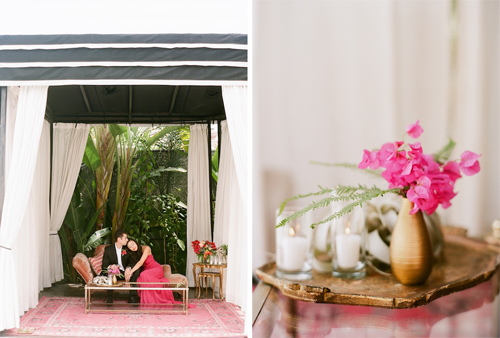 Rue Magazine Shangri La Tropical Summer Shoot with Gather Events, Caroline Tran, Found Vintage Rentals and the Vine's Leaf
