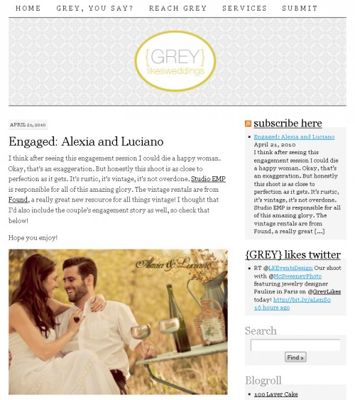 Featured on Grey Likes Weddings!