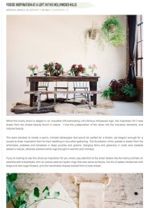 Green Wedding Shoes-Foodie Inspiration at a Loft in the Hollywood Hills with Found Vintage Rentals