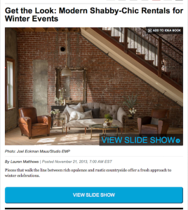 Bizbash- Get the Look: Modern Shabby-Chic Rentals for Winter Events