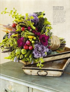 california-wedding-day-magazine-bouquet-found-vintage-table