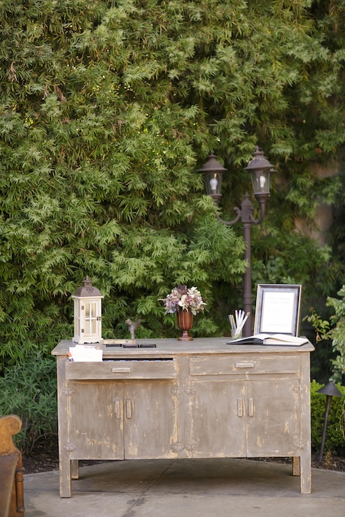 california-outdoor-wedding-guestbook-cabinet-vintage-rustic-franciscan-gardens