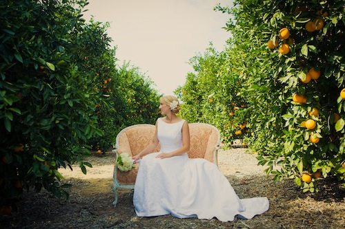 california-outddor-orange-grove-wedding-loveseat-bride-peach-rustic