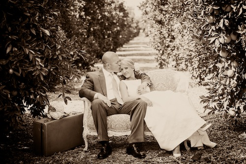 outdoor-orange-grove-rustic-vintage-wedding-loveseat-couple-california