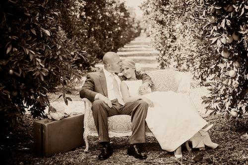 outdoor-orange-grove-rustic-vintage-wedding-loveseat-couple-california