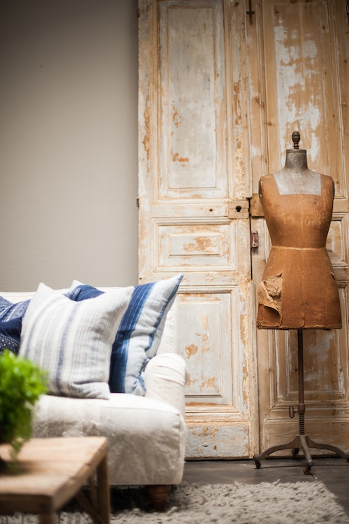 found-vintage-rentals-summer-look-book-americana-indigo-pillows-rustic-doors-mannequin