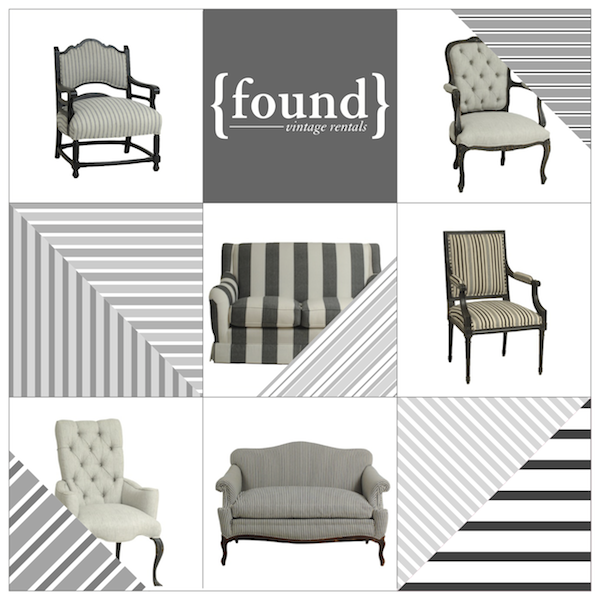 Striped Upholstered Lounge Furniture at Found Vintage Rentals