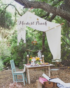 Modest Peach Summer Look Book Cover with Found Vintage Rentals