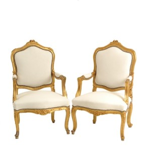 "Gold + White Velvet Chairs - ""After"""
