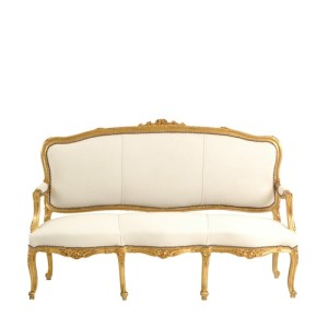 "Gold + White Velvet Couch - ""After"""