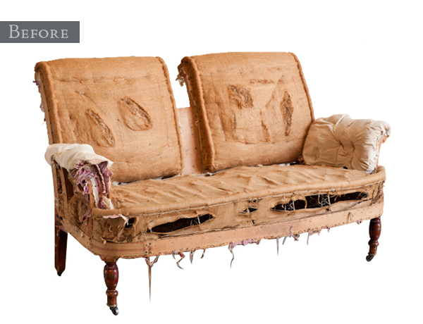 Found Vintage Rentals Before and After Settee