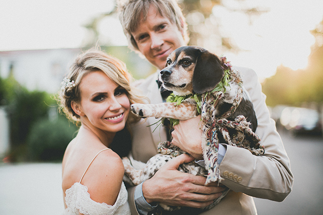 01Keltie-Knight-Rock-n-Roll-Boho-Wedding-Studio-Castillero-bride-groom-dog