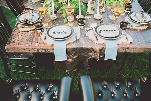 13Keltie-Knight-Rock-n-Roll-Boho-Wedding-Studio-Castillero-bride-groom-seats