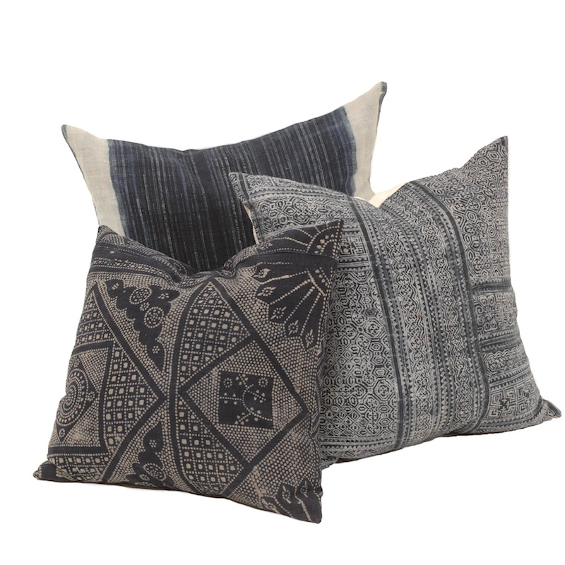 indigo pillows set of 3