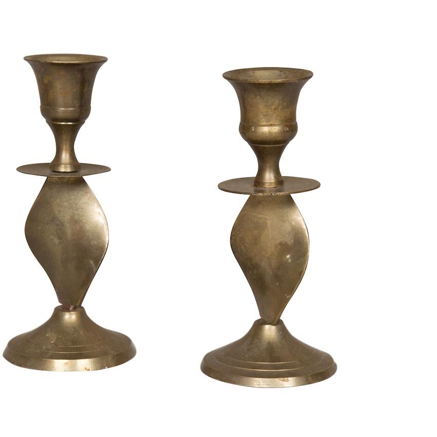 Carp Brass Candlesticks (pair)