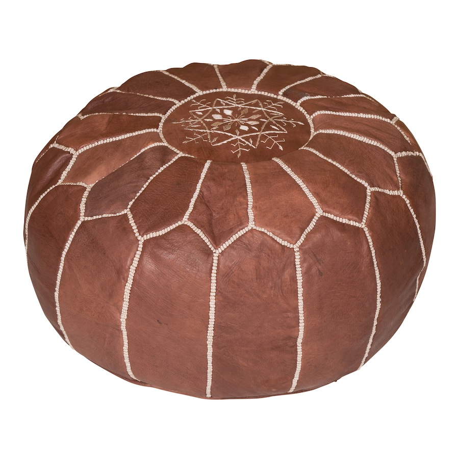 mara chocolate leather pouf found vintage rentals. Black Bedroom Furniture Sets. Home Design Ideas