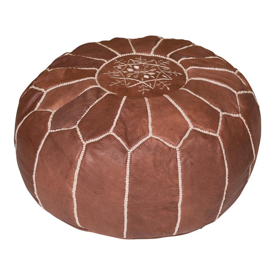 Mara Chocolate Leather Poufs