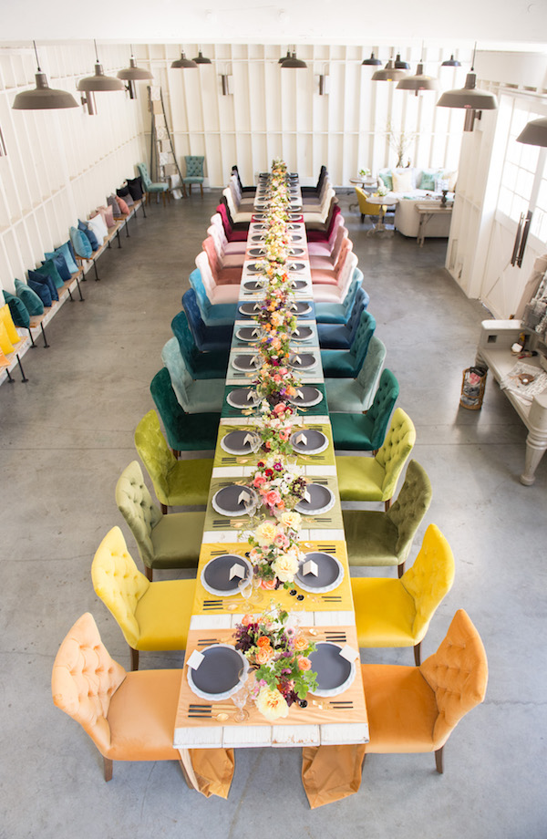 rainbow velvet chairs and runners red orange yellow green blue purple