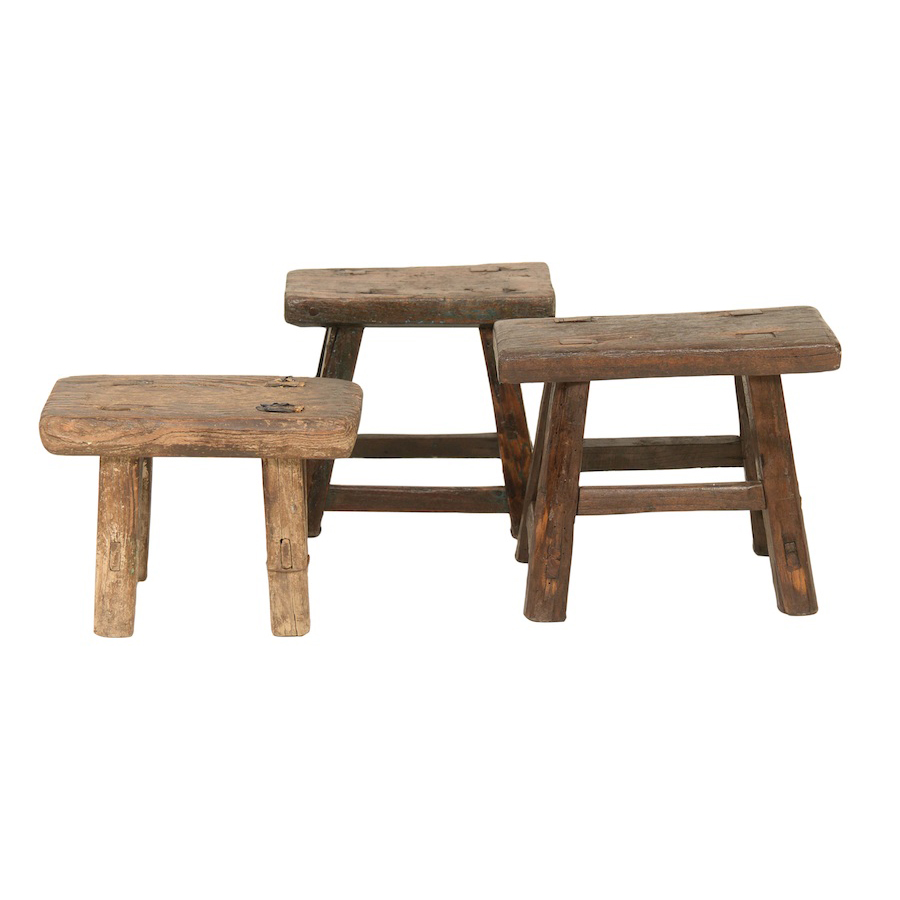 Oso Wooden Stools (Set of 3)