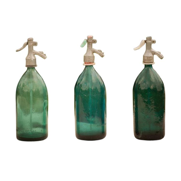 Theron Teal Seltzer Bottles (set of 3)
