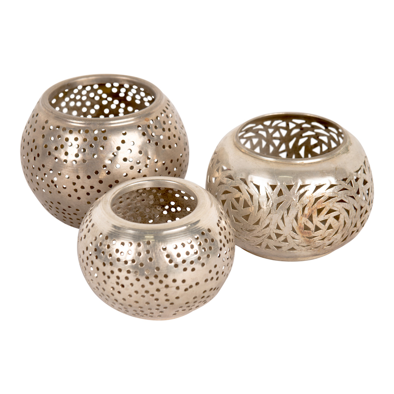 Adela Silver Candle Holders (set of 3)